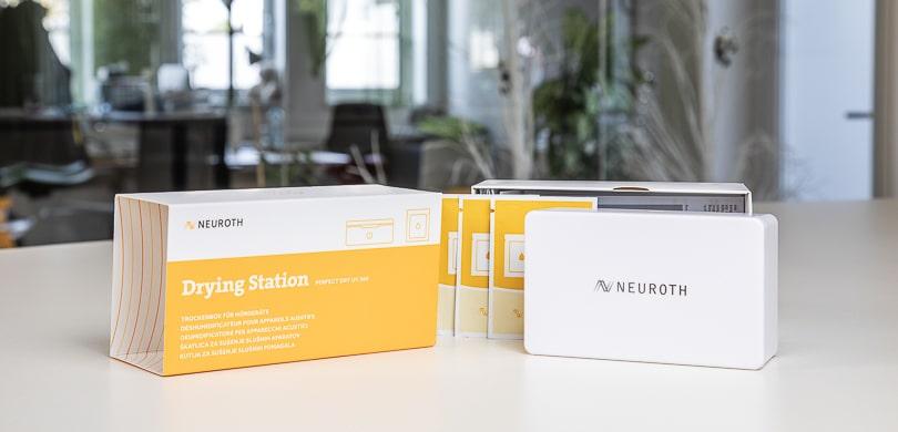 Verpackung Hörgeräte-Trockenbox und Reinigung
